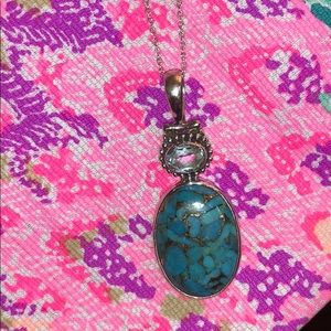 Jewelry - Blue copper turquoise & topaz Sterling S.necklace